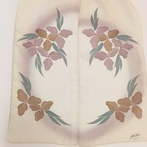 Vintage SILK beautiful cream scarf, 100% silk